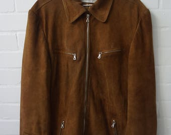 Vintage 1980s Men's Suede Jacket M, UK 38