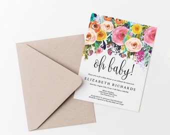 Editable Floral Oh Baby! Baby Shower Invitation Template, DIY Instant Download PDF, Digital Invite, Baby Shower Invitations, MAM106_33