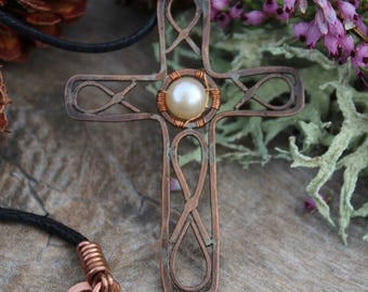 Handcrafted Copper Cross Necklace, Pearl Cross Necklace, Christian Jewelry, Gift For Her, Cross Pendant, Womens Copper Cross Necklace