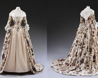 Custom Made Marie Antoinette 18th Century Floral Botanical Day Dress