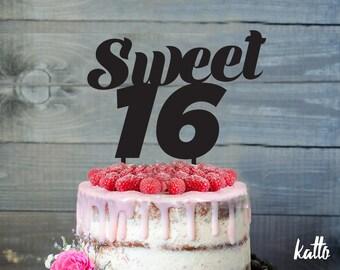 Sweet sixteen Cake Topper, Sweet 16 Cake Topper, Sweet Sixteen Cake Topper, Quinceanera, Sweet 16 Birthday Party, Sweet 16 Glitter Topper