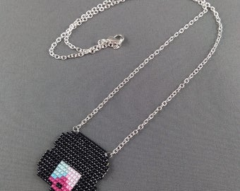 Garnet Necklace - Steven Universe Necklace Crystal Gems Necklace Garnet Head Necklace Cartoon Necklace 8bit Jewelry Seed beads