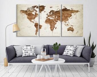 Sephia Push Pin World Map Wall Art, Large Canvas Map Print, Push Pin Stretched World Map Canvas Print, Push Pin Travel World Map Wall Art
