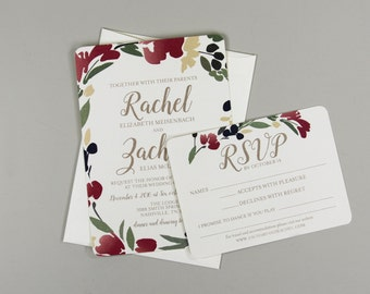 Floral Wreath Elegant Gold Script 5x7 Wedding Invitation With RSVP Postcard