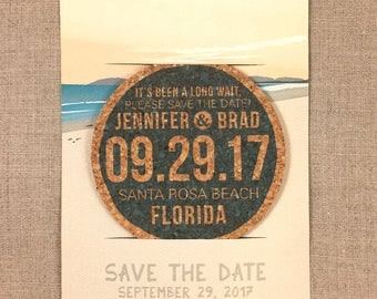 Beach Wedding Cork Coaster Save the Date with A7 Envelope