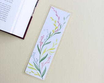Bookmark of floral flower laminated two-sided original watercolor