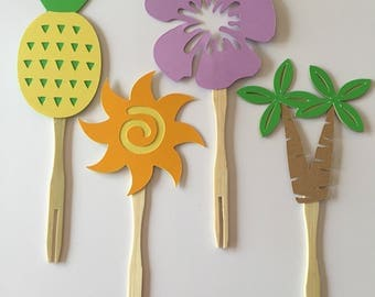 Luau party or Hawaiian themed party cupcake toppers or appetizer picks (set of 12)