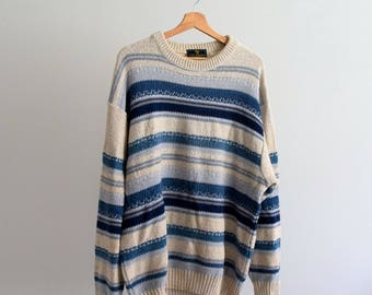 Vintage Retro Men's 90's Blue and White Cotton Pullover XL Man, Woman, Unisex, Sweater, Made in ITALY