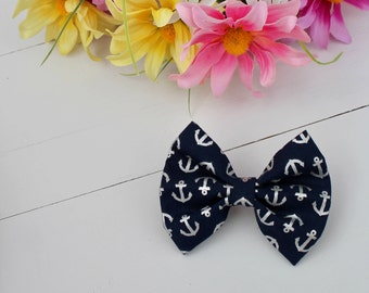 Silver Anchors Dog Bow Tie