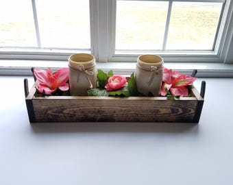 Rustic Reclaimed Wood Centerpiece Box, Horseshoe Decor, Mason Jars, Decor, Kitchen decor, Planter Box, Wedding Centerpiece