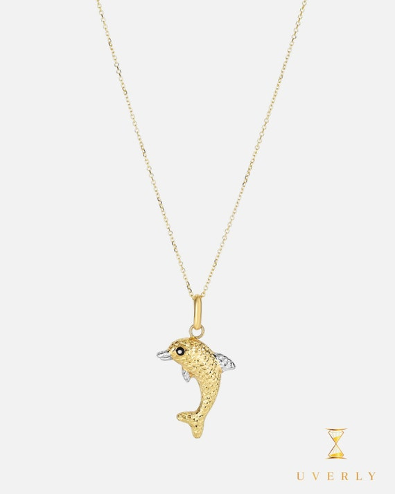 14k Solid Yellow Gold Womens Dolphin Reversible Charm Pendant Chain Necklace