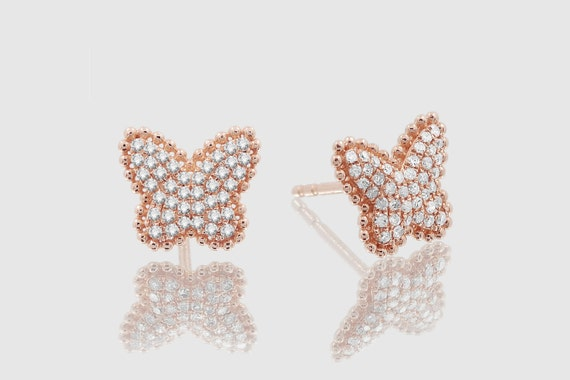 14k Solid Gold Womens Buttefly Diamond Sparkling Uverly Earrings