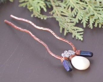 Metal Hair Fork Copper heart hair stick Hair Bun Holder Rustic copper wire hair fork Wire heart hair pin Hair Comb Handmade Hair Accessory