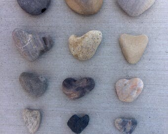 15 Rustic Heart Rocks, river rocks, beach stones, heart shaped rocks, garden decoration, rustic wedding decor, natural stone hearts