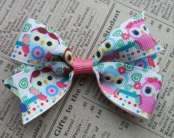 Owl Hair Bow, girls hair bows, cute hair, party favors, owl favors, cute hair bows, kawaii