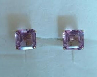 Vintage 14k Amethyst Studs - 14k Square Amethyst Earrings - 14k Amethyst Jewelry - Amethyst Earrings