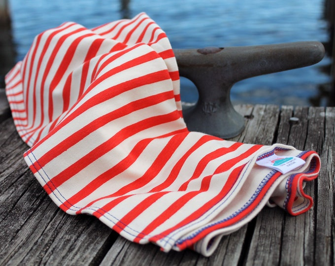 "19"" x 35"" red stripe nautical organic cotton t-shirt hair towel"