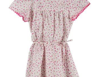 Girls cotton dress - Pink floral