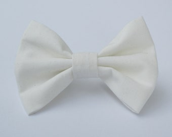 White Solid Bow Tie- All Sizes