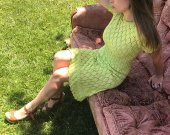 60s Adorable Lime Green / Key Lime / Chartreuse Crochet Knit Dress with Ruffle on Bottom