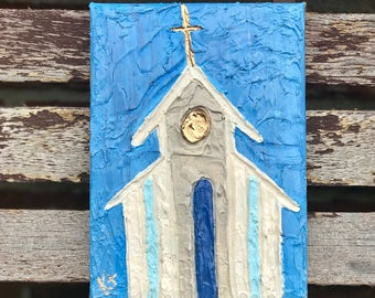 Church Art on 3x9 or 4x6 painted canvas