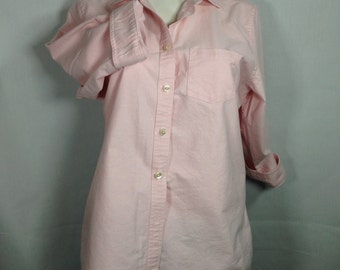Light pink blouse, button front blouse, size M blouse, three quarter sleeve blouse,