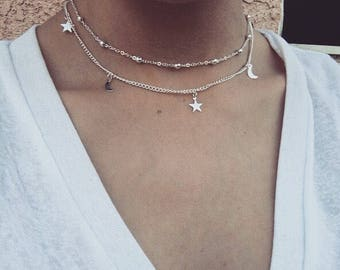 Silver color moon and star  necklace silver necklace moon choker   prom choker