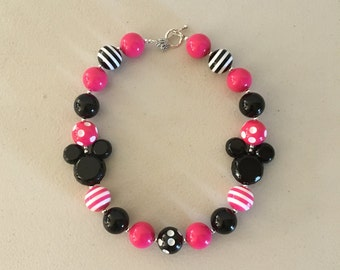 Minnie Mouse Pink Chunky Bead Necklace, Girls Bubblegum Beads