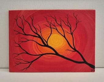 Tree Silhouette Original Bright Vibrant Nature Home Decor Abstract Sunset Red Orange Yellow Painting African Sun Art Small Modern Artwork