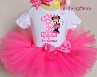 Pink Minnie Mouse Outfit / 1st Birthday Tutu Outfit / Minnie Tutu Outfit / Minnie Mouse Birthday Outfit / Minnie Party Dress / ONE Minnie