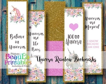 Printable Unicorn Bookmarks, Digital book marks, Pink Glitter, Gold Glitter, Birthday Parties, Gift giving, set of 6,  Digital download