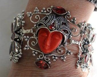Carved Face Coral and Garnet Bracelet!