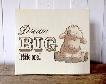 Dream Big Little One, Lamb, Wooden Signs, Nursery Decor, Baby Shower Gift