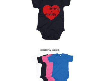 Mommy and mommy romper, baby romper, two moms, lesbian moms, same sex family, gay parents, LGBT parents, gay moms, lgbt baby romper, mommies