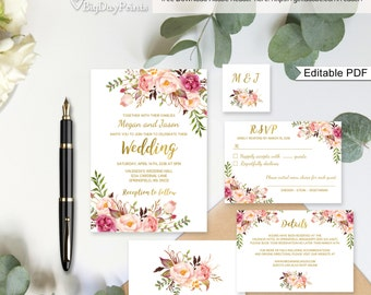 Floral Wedding Invitation Template, White Boho Chic Wedding Invite Suite, Gold Foil Invite, #A010A, Editable PDF - you personalize at home.