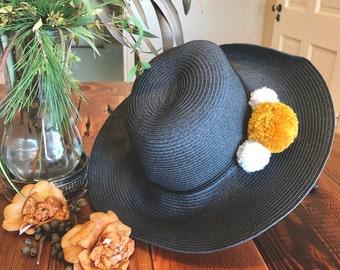 Black Sun Hat with Pom Poms