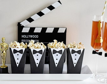 Tuxedo Popcorn Treat Box, Instant Download Foldable Printable PDF Red Carpet Movie Star Black Tie, Statue Bow tie, 2 designs, Award Party