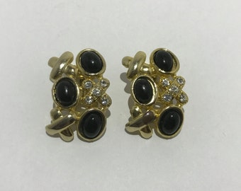 Clips vintage black cross and rhinestone earrings