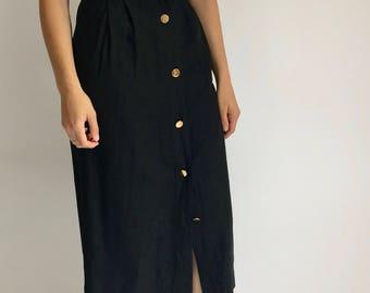 Vintage 80s Black Cotton Below the Knee Summer Dress | Structured black dress | black summer midi dress | 90s black summer dress