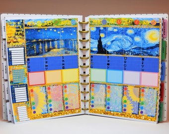 BIG Happy Planner Vincent Van Gogh Artworks Colorful Full Week Sticker Kit, For BIG Mambi Planner, Famous Artists Deco Kit, PaperPotpourriCo