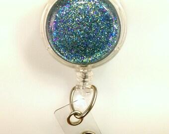 Glitter Galaxy, Teal Glitter Badge Holder