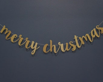 MERRY CHRISTMAS Gold Glitter Banner Sign   Christmas Winter Holiday Party Decor, Mantle, Hawaiian, Family Card Photo, Premium Double-backing