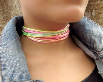 Layered Choker, Neon Choker, Choker Necklace,  Summer Jewelry, Hippy Choker, Boho Choker, Festival Choker,Multi Layer Choker, Fashion Choker
