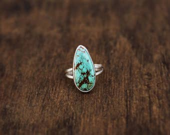 Turquoise Ring // Sterling Silver // Split Band // Size 6 // Pilot Mountain Turquoise
