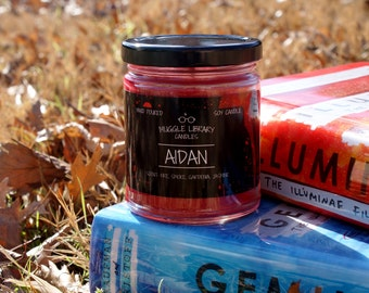 AIDAN - inspired by Illuminae and Gemina - hand poured soy candle - 9oz glass jar