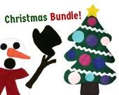 Christmas Gift Set, Felt Snowman, Felt Tree, Preschool, Toddler Activity, Travel Toy, Handmade Felt Board, Felt Story,