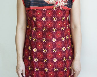 Red Orange and Black Kurta Tunic Top with Mirror Work and Free Set of Bangles Only One Left!