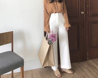 white Wide Leg Pants-Casual Cotton Pants-Loose Pants-High Waist Pants-wide pants slacks - white high waisted Pants - white Palazzo Pants