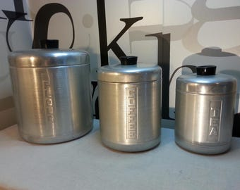 Vintage Aluminum Canister Set 1950's  FREE SHIPPING