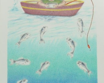 Boy Fishing colored pencil art